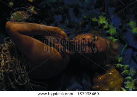 The beautiful fantasy mermaid hit the net underwater