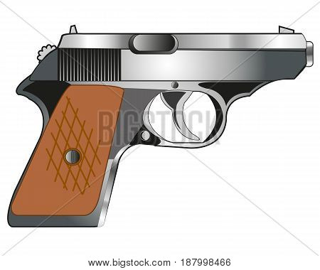Weapon gun on white background is insulated