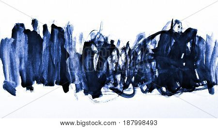 Abstract Blue Watercolor On Paper Texture As Background Design