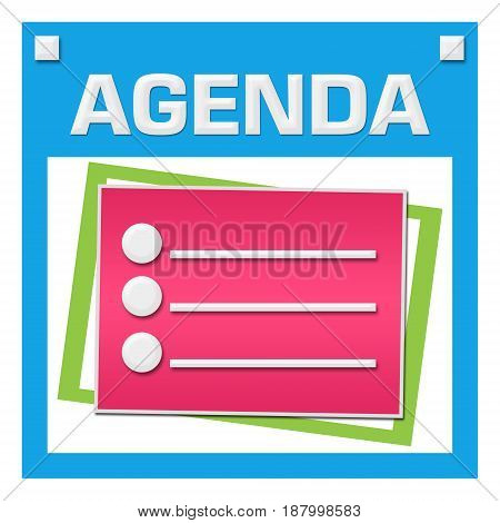 Agenda concept image with text and related graphic.
