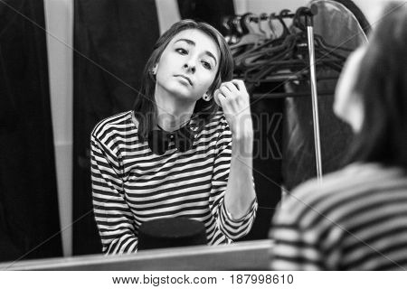 The Girl In The Dressing Room Is Getting Ready For The Performance