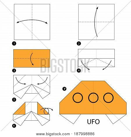Step by step instructions how to make origami UFO.