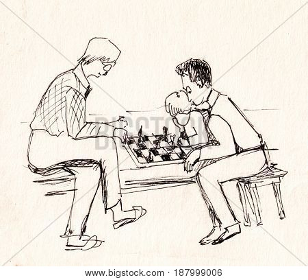 Two men and boy are playing chess