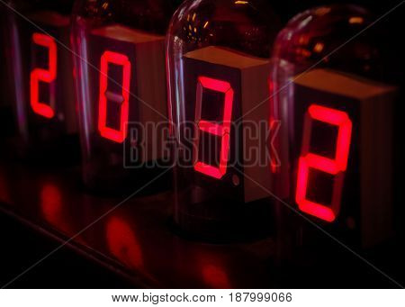 Electronic Red Digital Time Numbers in The Dark, Concept image