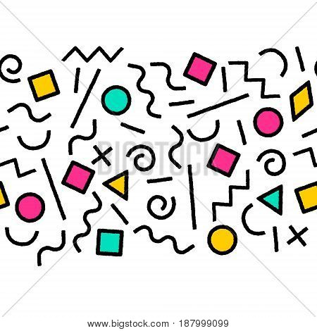 Black and white and colorful memphis abstract geometric shapes seamless border, vector background