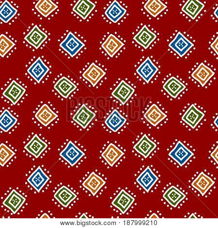 Colorful red simple african mudcloth fabric seamless pattern, vector background