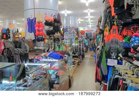 HO CHI MINH CITY VIETNAM - NOVEMBER 28, 2016: Unidentified people visit Russian market. Russian market is a shopping mall selling cheap clothes and diary products.