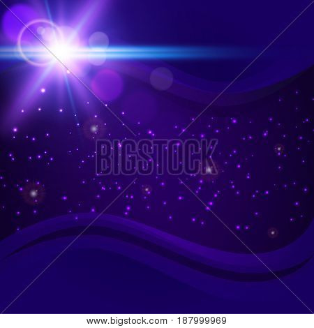 Abstract purple cosmic background. Starry space with sparkles, bokeh and lights. Deep dark space with telescope lens flare effect. Shiny bright flash rays in universe. Big explosion in night sky.