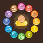 Mineral Vitamin supplement icons, calcium, iron, iodine, sodium, potassium, magnesium, selenium, zinc, phosphorus. Flat logo, isolated background. Diet infographic poster. Pill vector illustration poster