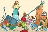 Terrible mother and the kids made a mess at home. Comic book cartoon pop art retro color vector illustration hand drawn poster