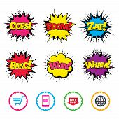 Comic Wow, Oops, Boom and Wham sound effects. Online shopping icons. Smartphone, shopping cart, buy now arrow and internet signs. WWW globe symbol. Zap speech bubbles in pop art. Vector poster