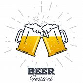 Two gig glasses with fresh yellow live beer and white foam and bubbles. Line style flat vector illustration. Beer festival concept. Lager sort. Clinking beer glasses. poster