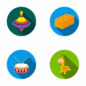 Yula, lego, drum, giraffe.Toys set collection icons in flat style vector symbol stock illustration . poster