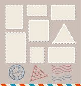 Empty Template Blank White Postage Stamps Set Paper Mark Symbol of Delivery Correspondence. Vector illustration poster