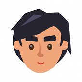 Physiognomy of boy. Brunet haired man face front view isolated icon on white. Cartoon young male character smiles. Modern man hairstyle example, avatar userpic vector illustration in flat style. poster