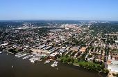 Aerial of downtown Alexandria, Virginia, on the Potomac River, near Washington DC, with a view of King Street leading from Waterfront Park to George Washington Masonic Memorial poster