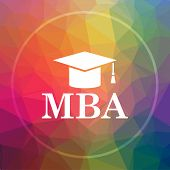 MBA icon. MBA website button on low poly background. poster