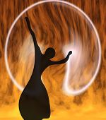 Silhouette of the girl on a background of a fiery circle poster