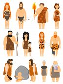 Cartoon primitive people character set vector protoman neanderthal caveman male evolution illustration. Ancient prehistoric cave man barbarian, human. Primeval family man and woman with baby kid poster