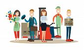 Vector illustration of postal service manager, postman, loader, packager and florist. Delivery people concept flat style design elements, icons isolated on white background. poster