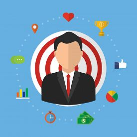Recruitment candidate job position with target. Vector illustration customer relationship management (CRM) and headhunter human resources concepts.