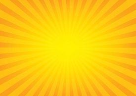 Sunrays with sunburst on orange color background. Vector illustration design.