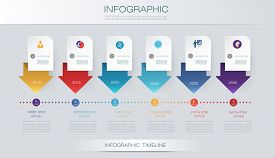 Vector infographics timeline design template with 3D paper label and graph 6 steps options. For workflow, layout, diagram, infograph, business, infographic, flowchart, process diagram, time line, chart