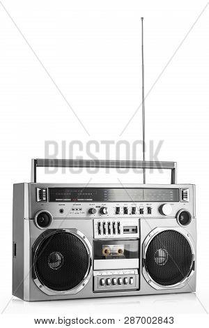 Retro Ghetto Blaster Or Disco Boom Box Isolated On White Background