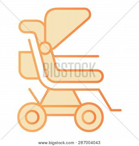 Stroller Flat Icon. Baby Pushchair Orange Icons In Trendy Flat Style. Buggy Gradient Style Design, D