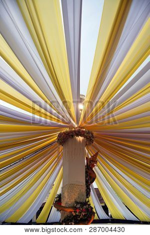 The Fabric That Is Stretched Is A Large Sun-shading Tent.