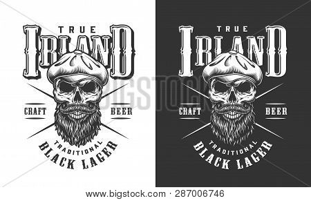 Bearded And Mustached Irish Skull Label With Tweed Cap In Vintage Monochrome Style Isolated Vector I