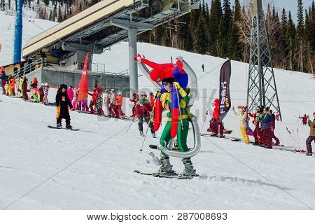 Sheregesh, Kemerovo Region, Russia - April 7, 2018: Young People In Carnival Costumes From Spiderman