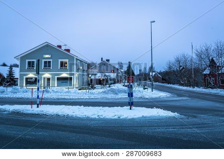 Kyrkhult, Sweden - January 21, 2018: Architecture of the Kyrkhult village in Sweden at dawn. Kyrkhult is a village situated in Blekinge County of Sweden