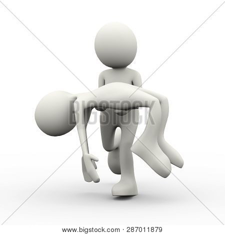 3d Illustration Of Person Taking Dead Body Of Death Person. 3d Human Person Character And White Peop