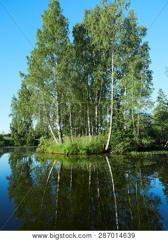 Small Island On A Sunny Summer Lake In Lodja, Estonia. . Serenity And Tranquility In Concept.