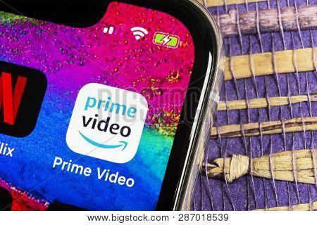 Helsinki, Finland, February 17, 2019: Amazon Prime Video Application Icon On Apple Iphone X Screen C