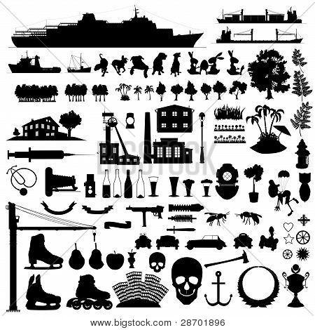 mixture ninety vector silhouettes