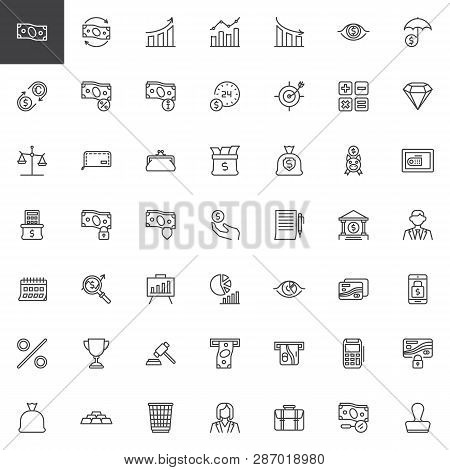 Business And Finance Line Icons Set. Linear Style Symbols Collection, Outline Signs Pack. Vector Gra