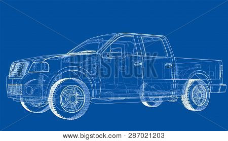 Vector Car Silhouettes. Vector Rendering Of 3d. Wire-frame Style. The Layers Of Visible And Invisibl