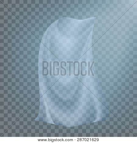 Fluttering White Cloth Vector. Billowing Clear Curly Curtain Transparent White Cloth. Realistic Clea