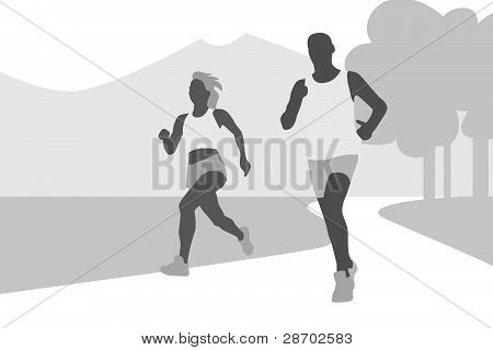 Running couple silhouette