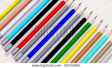 colored pencils 3d