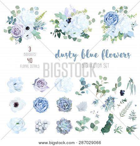 Dusty Blue, Pale Purple Rose, White Hydrangea, Ranunculus, Iris, Echeveria Succulent, Flowers, Green