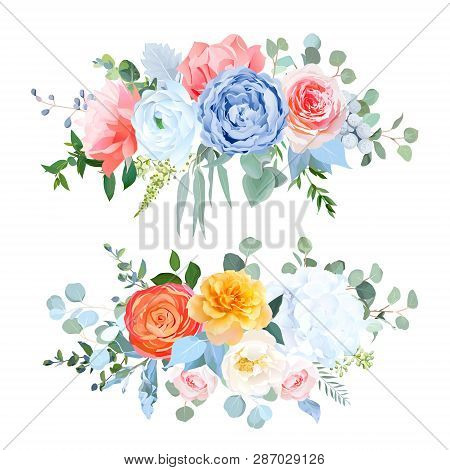 Dusty Blue, Orange, Yellow, Coral Flowers Vector Wedding Bouquets. Rose, Carnation, Ranunculus, Hydr
