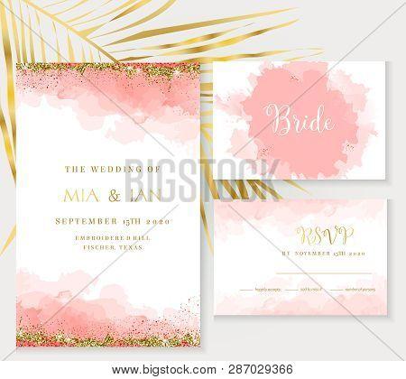 Stylish Coral Watercolor And Gold Glitter Vector Design Card. Golden Foil Frame. Elegant Wedding Inv