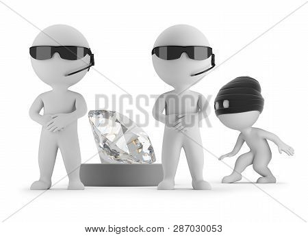 3d Small People - Thief Wants To Steal A Diamond. Two Guards. 3d Image. White Background.