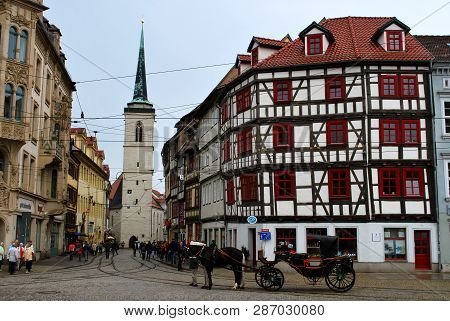 Erfurt, Thuringia, Germany - May 04, 2013: The Old City Center Of Erfurt