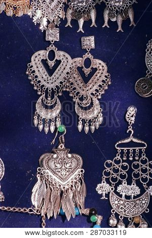 Rajasthani Earrings. A Photograph Taken Of Typical Rajasthani Style Handcrafted Earrings With Elegan
