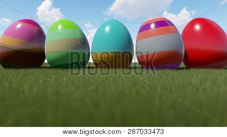 Happy Easter Eggs On The Grass, 3d Rendering