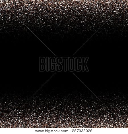 White Abstract Particles On Black Background. Falling Snowflakes Imitation. Bright Silver Bokeh Text